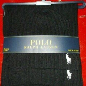 NWT POLO RALPH LAUREN Men's Hat & Scarf Set Black